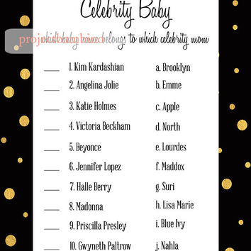 Celebrity Baby Shower Game in black and gold - celebrity name match baby shower printable digital file