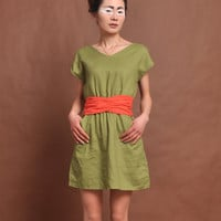 linen maxi dress V-neck dress  beige dress  red belt dress green dress cotton dress
