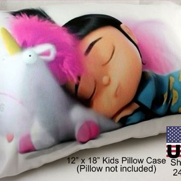 "Despicable Me 2 Cute Agnes Fluffy Unicorn Minions Bed Pillow Case Cover -Small Travel/youth, White, 12""w X 18"" NON Standard Travel Pillow Kids Case Cover (Ships From Alabama)"