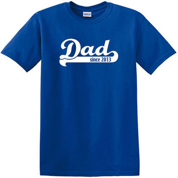 Dad Since 2014, customize the year, fathers day, birthday, Christmas gift, New Dad, Pregnancy Announcement tee