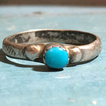 Turquoise Navajo Stacking Ring Sterling Silver Boho