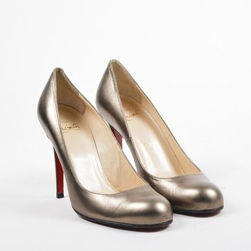 KUYOU Christian Louboutin Bronze Metallic Leather Round Toe  Simple 100  Heels