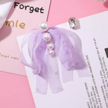 2018 Hot Style Sweety New Design Lace Chiffon Bowknot Asymmetry Dangle Earrings For Women Simulated Pearl Brincos Jewelry Gifts