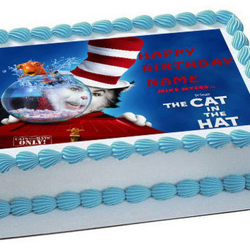 CAT IN THE HAT Edible Birthday Cake Topper OR Cupcake Topper, Decor