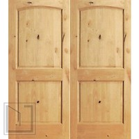 S/W-95 Interior Knotty Alder 2 Panel Arch Top Panel Double Door
