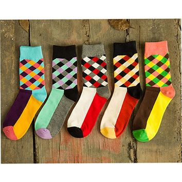 [COSPLACOOL]New Brand Happy socks British Style Plaid Socks Gradient Color High Quality Men's Cotton argyle Socks Free Shipping