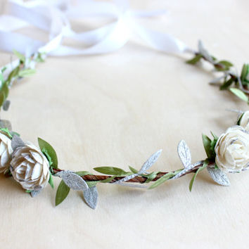 Creamy White Silver Rose Floral Crown, Flower Crown. Woodland, Paper Flowers,Fall, Hair Wreath, Bridal headpiece, Hair Accessories,