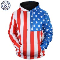 American Flag All Over Print Hoodies - Men's Novelty Pullover Hoodie