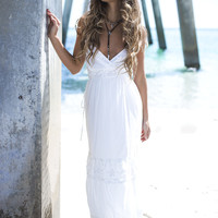Crochet My Heart White Chapel Tiered Maxi Dress