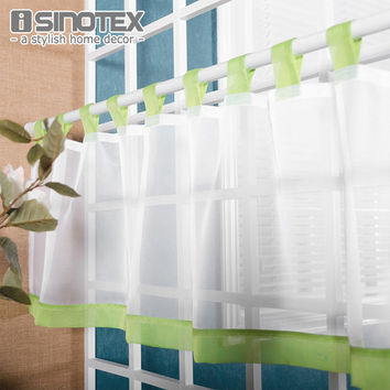 Coffee Roman Tulle Curtain Window Valance Half-curtain Embroidery Customize Panel Drape Tab Tape for the Kitchen Cabinet