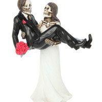 Skeleton Bride Carrying Groom Couple Figure