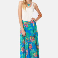 Mary Ann or Ginger? Blue Floral Print Maxi Skirt