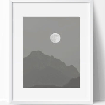 Wall Decor, Moon Art, Moon Print, Instant Downloadable, 8x10, Wall Gallery, Art Collection, Gray Black White, Nature Art, Nature Print