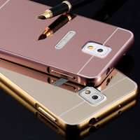 Note 4 Fundas Gold Plating Mirror Case For Samsung Galaxy Note 3 Note 4 Hybrid Acrylic PC + Aluminum Metal Luxury Phone Cover
