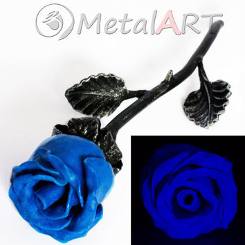 Metal Rose Blacksmith Hand Forged Decor Luminous Iron Steel Art Flower Sculpture
