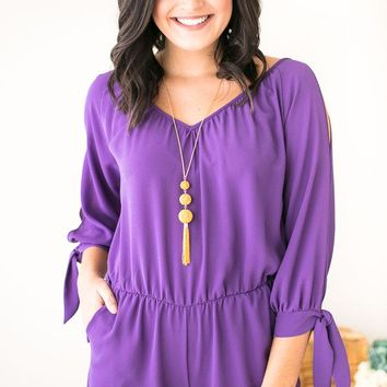 Flatter Me Purple Long Sleeve Romper