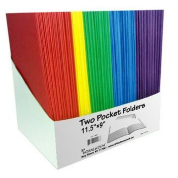 "Two Pocket Folders - 9"" x 12"" - Assorted Colors"