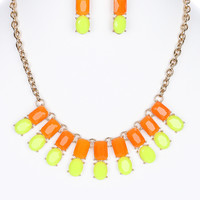NEON LUCITE STONE  NECKLACE AND EARRING SET