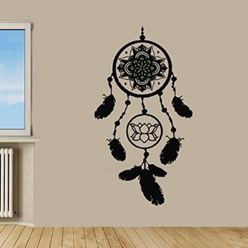 Wall Decals Vinyl Decal Sticker Dream Catcher Amulet Indian Mandala Floral Design Lotus Feather Yoga Studio Gym Bedroom Living Room Decor Home Interior Wall Art Murals