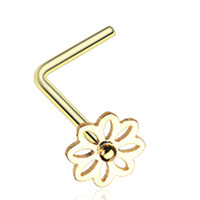 Golden Color Daisy Breeze Flower L-Shaped Nose Ring - 20 G - Sold as a Pair