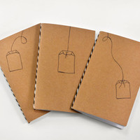 Set of 3 Mini Journals/Pocket Kraft Journals: Tea Time Notebook Set Collection