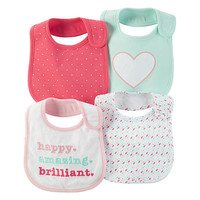 Carter's Girls 4 Pack Assorted Pattern Bibs