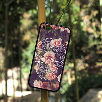 iPhone Case Sugar Skull on Vintage Floral For iPhone 4, iPhone 5, iPhone 5c, iPhone 6, iPhone 6 Plus in Plastic, Rubber or Heavy Duty*