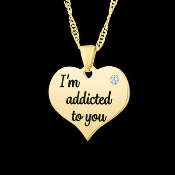 Personalized Heart Necklace - Custom Heart Necklace - Heart Engraved Necklace - Heart Initials Necklace - Personalized Initials Necklace