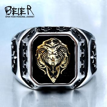 BEIER Cool For Man 316L Stainless Steel Plated-Gold Lion Head
