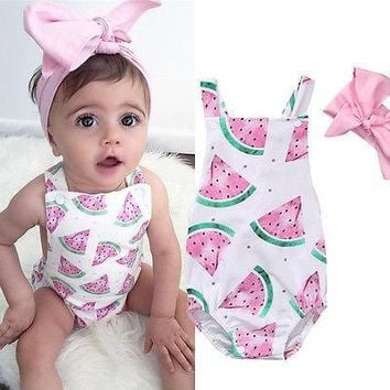 Adeline's Watermelon Slice Romper 2 pc