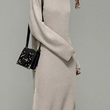 Beige Drawstring Round Neck Long Sleeve Fashion Sweaters Maxi Dress