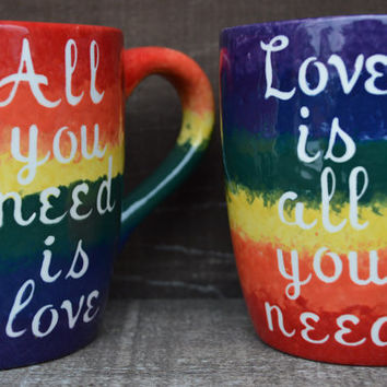 OOAK All You Need Is Love / Love Is All You Need - Beatles Quote 28 oz. Mug Set - Rainbow Stripes with White Text - Valentine's Day