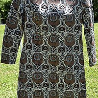 Vintage 1960's Dress M L Brown Gray Polyester Geometric Shift Retro Mid-Century