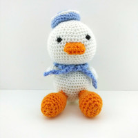 Quack Stuffed Animal, Duck Plush, Crochet Sloth, Duck Toy, Amigurumi Crochet Animal, Stuffed Duck