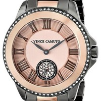 Vince Camuto Women's VC/5049RGTT Swarovski Crystal Accented Gunmetal and Rose Gold-Tone Bracelet Watch