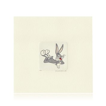 Bugs Bunny Etching Artwork Sowa & Reiser #D/500 Looney Tunes Hand Painted Laying Down