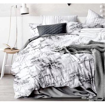 White Black Stone Pattern Duvet Cover Set Single Double Queen King 2/3Pcs Bedding Sets Bedclothes Simple Bedding Set No Sheet