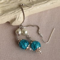 Handmade Crackled Sky Blue Earrings | peaceloveandallthingsjewelry - Jewelry on ArtFire