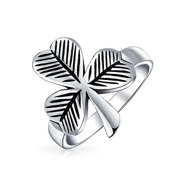 Celtic Irish Trinity Shamrock Clover Ring 925 Sterling Silver