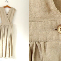 1980s vintage tan safari day dress - overall bib jumper - midi / maxi dress - small / medium