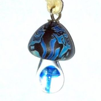 Hemp Mushroom Necklace~ Fimo Glass Mushroom Pendant!!~ Adjustable Necklace (Adjustable, Blue)
