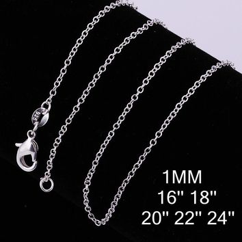 Big Promotion! wholesale 925 stamped silver plated necklace, silver fashion jewelry Rolo Chain 1mm Necklace 16 18 20 22 24""