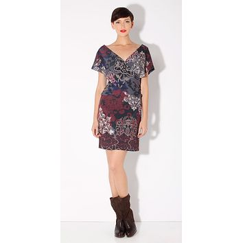 Draped Purple Printed Jersey Dress