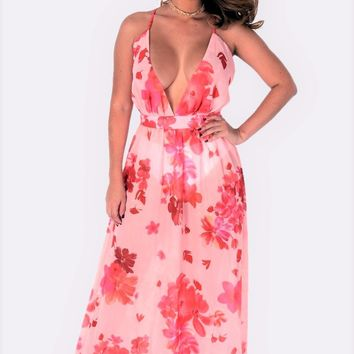 Pink Chiffon Maxi Dress