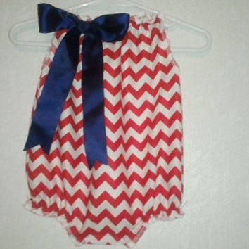 4th of July Red and white chevron bubble Romper, baby romper, Birthday outfit, Mother's day,  Available in sz newborn to  2T