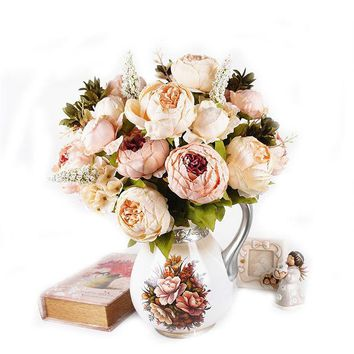 DCCKF4S 8 Heads/Bouquet Artificial Peony Silk Flowers Bridal Hydrangea Wedding Decor