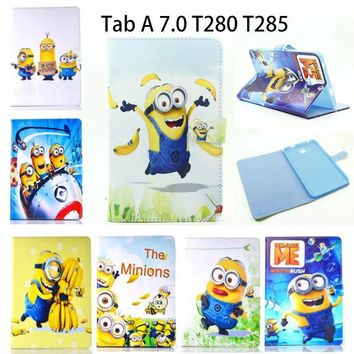 PU Leather Case For Samsung Galaxy Tab A a6 7.0 inch 2016 T280 SM-T285 T285  Cases Cover Tablet Children's cartoon Minions Funda