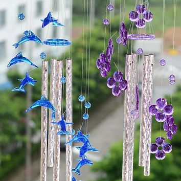 1PC Model Pastoral Dolphin Heart Windchime Acrylic Yard Garden Outdoor Living Plastic Wind Chimes for Outdoor Living Room KN 042