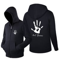Spring and Autumn Sweatshirt Skyrim black hand Dark Brotherhood  Hoodies Men Casual Tracksuit Long Sleeve Zip up Hip hop Tops
