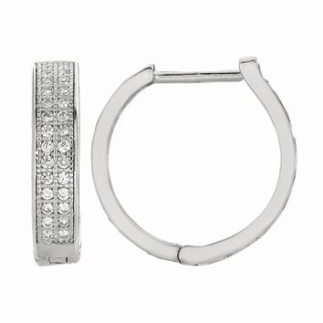 Silver with Rhodium Finish Shiny 4.0X17mm Clear Cubic Zirconia Huggie Earring